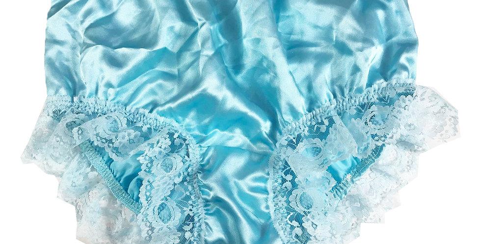 New Mint Blue Underwear Satin Panties Brief Knickers Handmade Men Lacy STH04D20