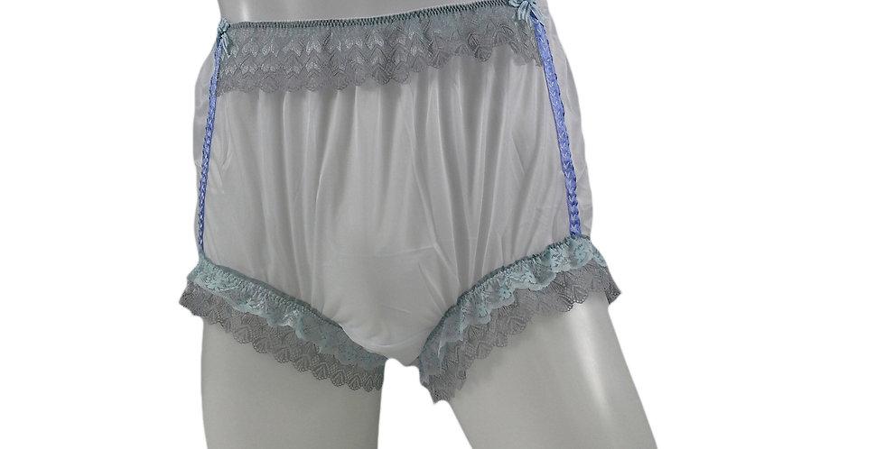 NNH06D13 White Handmade Panties Lace Women Men Briefs Nylon Knickers