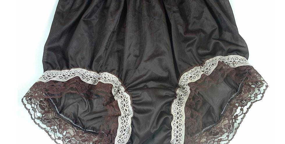 NNH05D09 Brown Tan Handmade Panties Lace Women Men Briefs Nylon Knickers