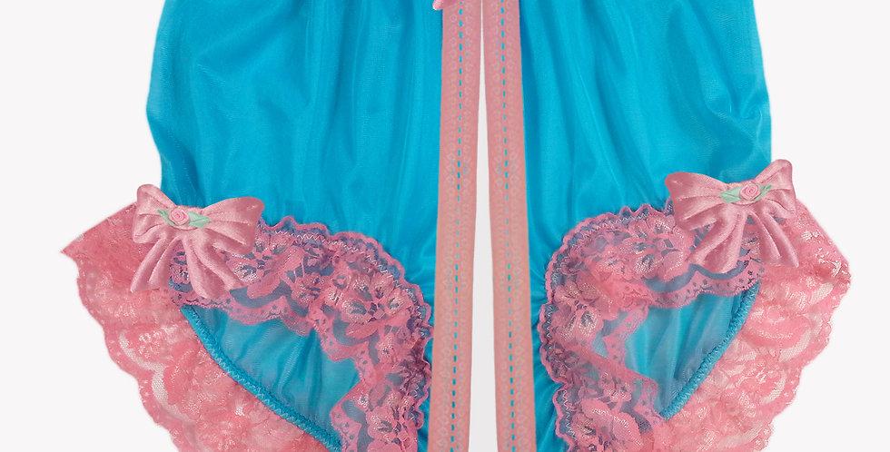 Light blue Open Gusset Full Cut Nylon Panties Briefs Men Handmade Lacy NH32R06