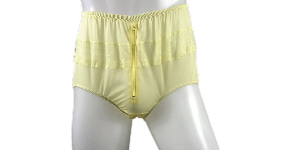 JYH03B02 yellow Handmade Nylon Panties Women Men Lace Knickers Briefs