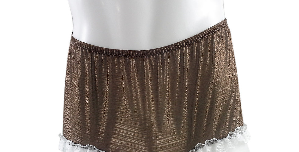 SFH02D04 Tan Brown Shiny Nylon New Panties Women Men Handade Briefs