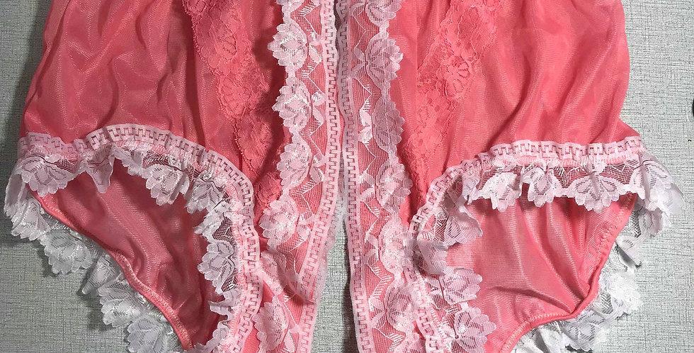 New Light Pink Open Front Gusset Nylon Panties Men Briefs Handmade Lacy SSH32D02
