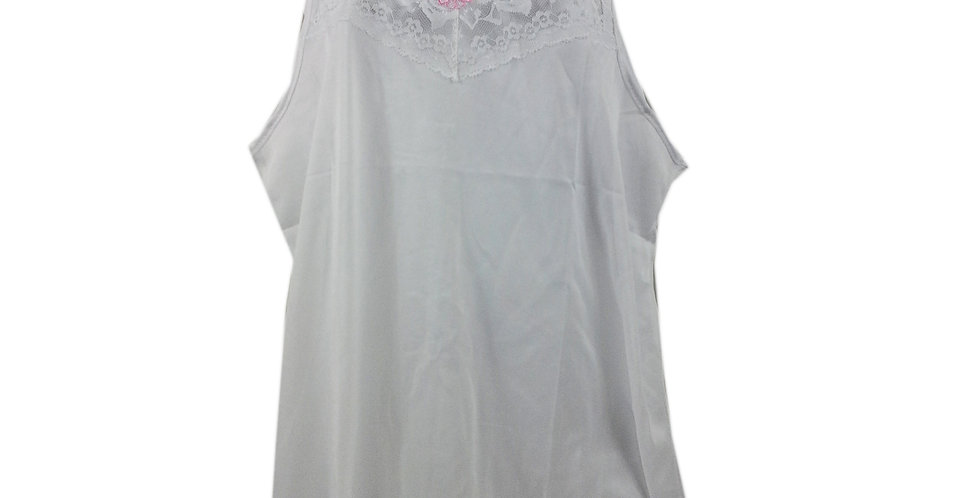 BOS03 White Silky New Nylon Blouse Lace Camisole Tank Top Women