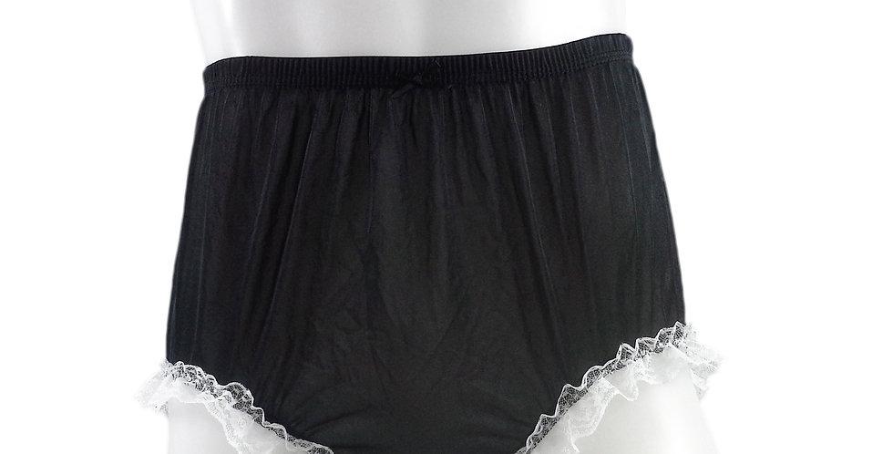 NH02D02 Black Handmade Panties Lace Women Men Briefs Nylon Knickers Und