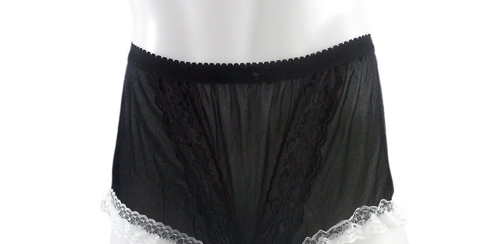 NLH02D10 Black Panties Granny Lace Briefs Nylon Handmade  Men Woman