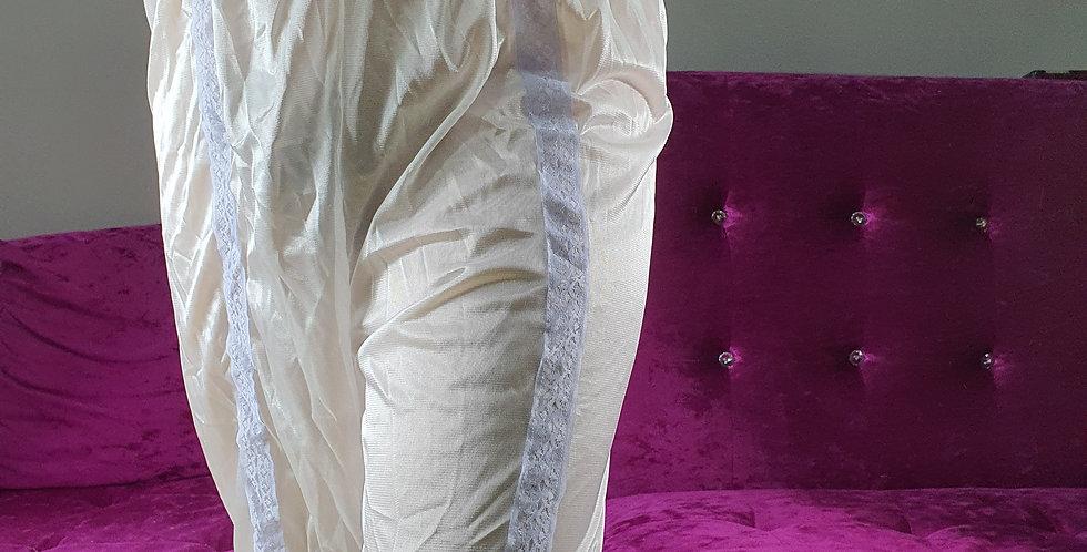 New White Lingerie Vintage Pettipants Men Handmade Nylon Slip Strip Lacy NSLSS12