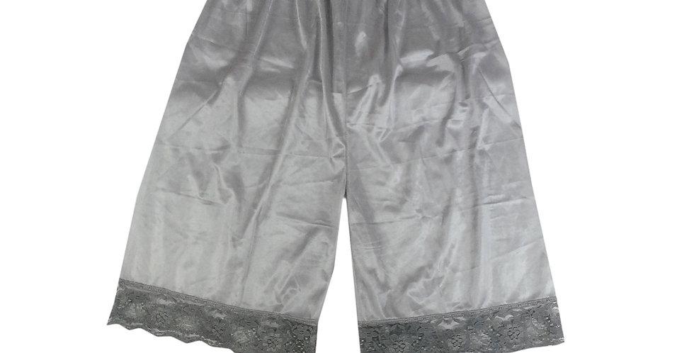 PTP09 grey gray Silky Nylon Pettipants Women Men Slips Lace Lingerie