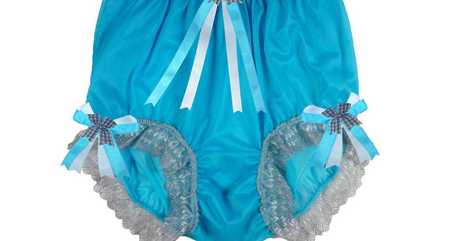 NNH18D03 Light Blue Handmade Panties Lace Women Men Briefs Nylon Knickers
