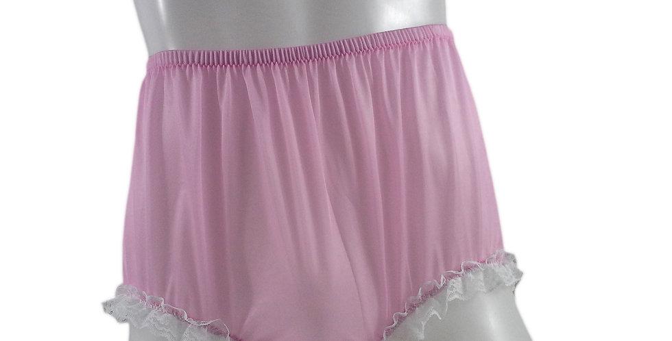 NH02D11 Pink Handmade Panties Lace Women Men Briefs Nylon Knickers Und