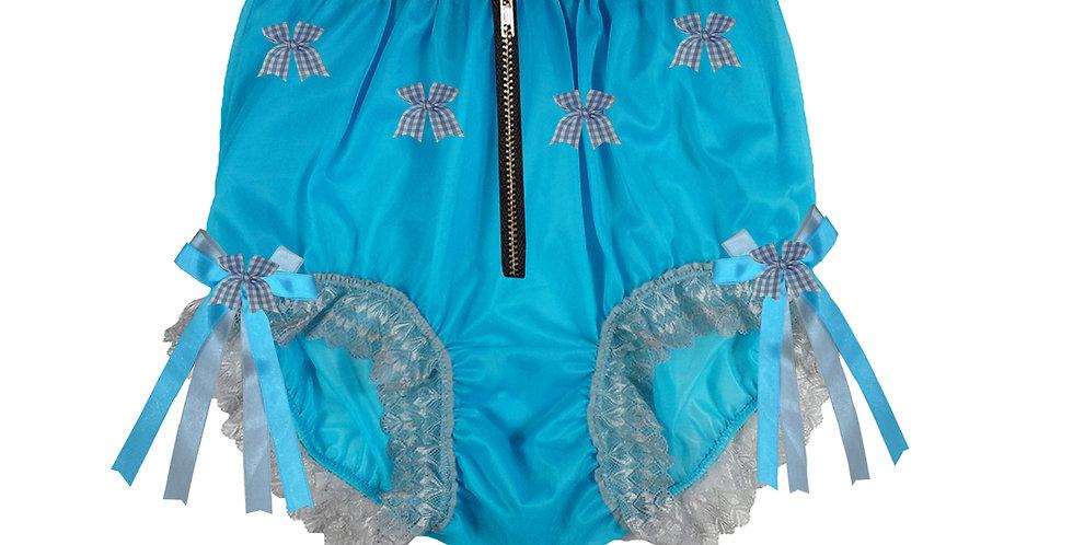 Blue Sheer Nylon Underwear For Men Open Front Crotchless Panties Zipper Panty