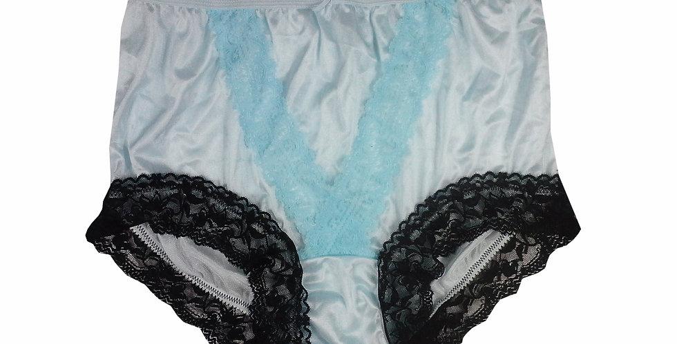 NLH07D16 Fair Blue Panties Granny Lace Briefs Nylon Handmade  Men Woman