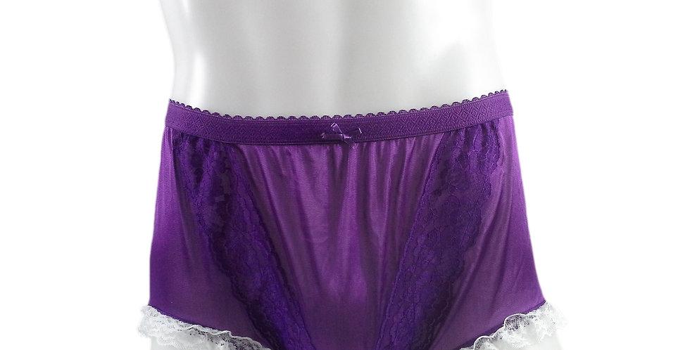 NLH02D07 Light Purple Panties Granny Lace Briefs Nylon Handmade  Men Woman