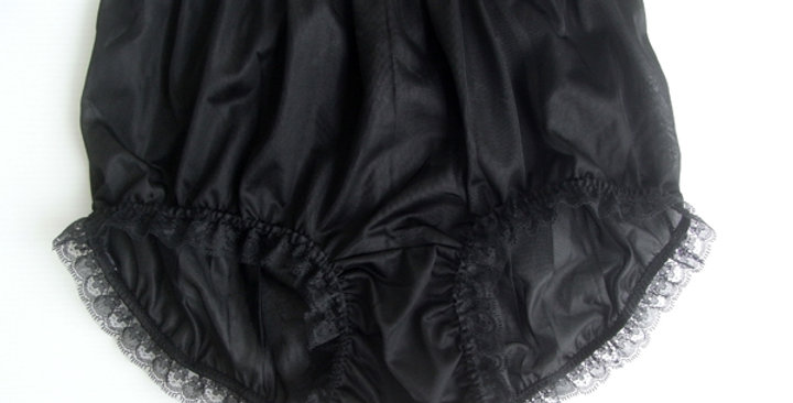 Black Pinup Panties Full Cut Nylon Brief Knickers Handmade Men Tiny Lacy NVOD60