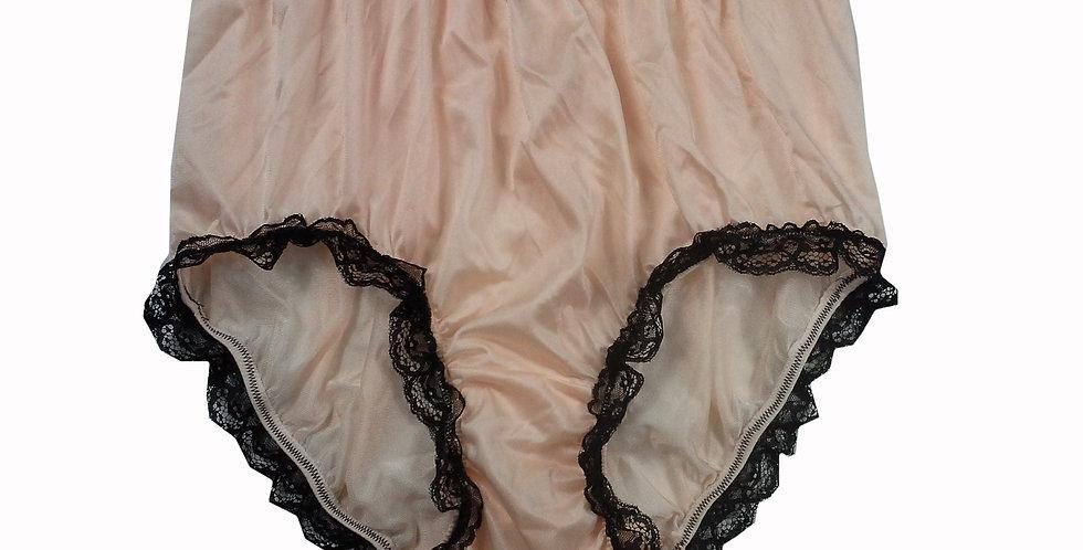 NQH08D14 Orange Panties Granny Briefs Nylon Handmade Lace Men Woman