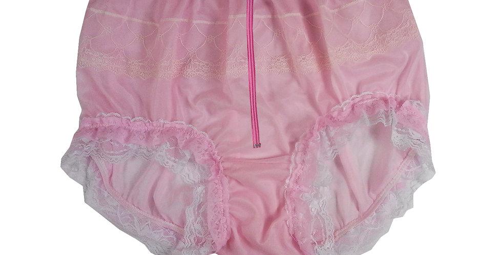 JYH23DP04 Pink Zipper Handmade Nylon Panties Women Men Lace Knickers Briefs