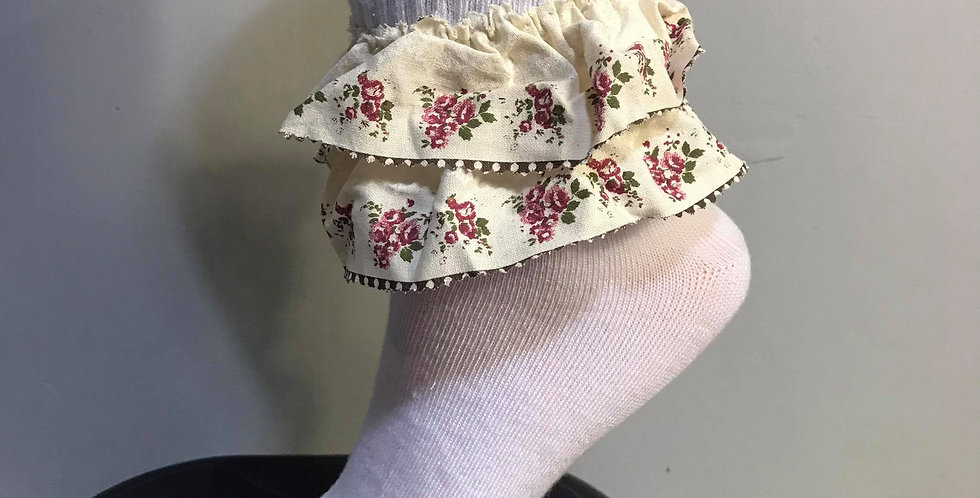 New White Socks Pinup Floral Double Lacy Handmade Nylon Men Adult Ankle SWL05