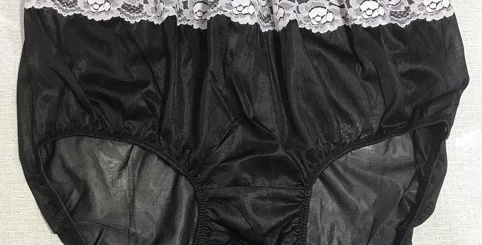 New Black Full Cut Nylon Briefs Panel Lace Panties Knickers Men Handmade NRLP13