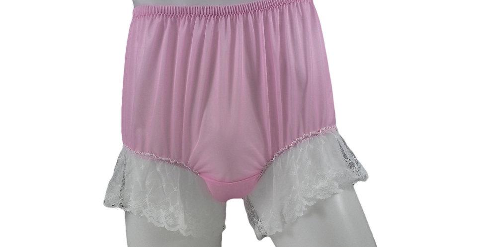 NNH04D22 Pink Handmade Nylon Panties Granny Briefs Lingerie Women Man