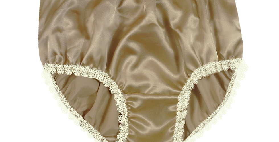 Gold Brown Satin PlusSize Panties Briefs Men Knickers Handmade White Lacy STWL