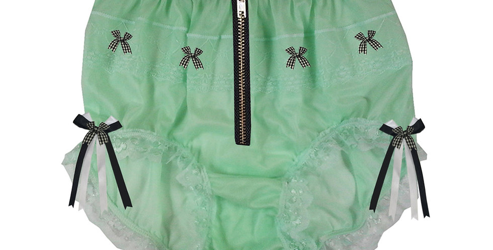 JYH20D05 Fair Green Zipper Handmade Nylon Panties Women Men Lace Knickers Briefs