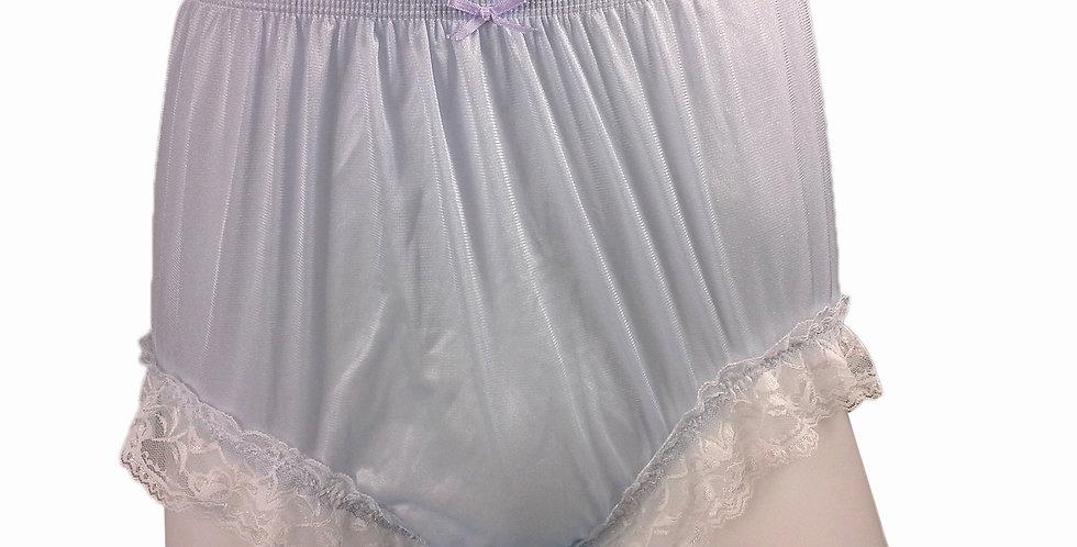 NQH01D14 Fair Blue Panties Granny Briefs Nylon Handmade Lace Men Woman