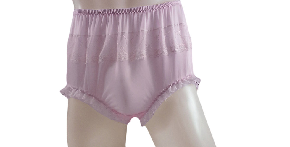 JYH04D06 Fair Pink Handmade Nylon Panties Women Men Lace Knickers Briefs