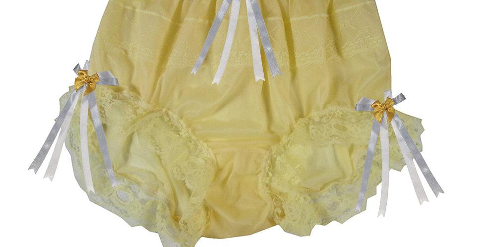 JYH18D08 Yellow Handmade Nylon Panties Women Men Lace Knickers Briefs