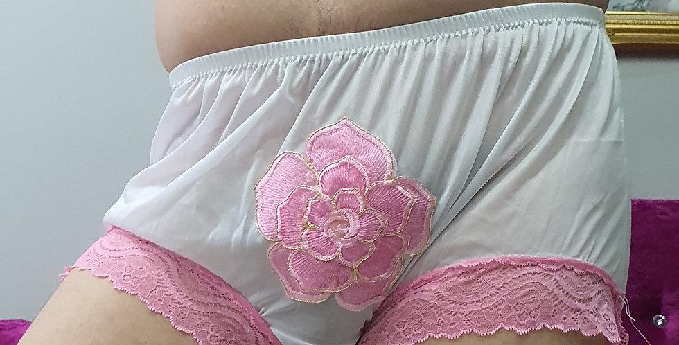 New White Floral Iron Pad Nylon Briefs Men Lacy Panties Handmade Knickers RNOL38