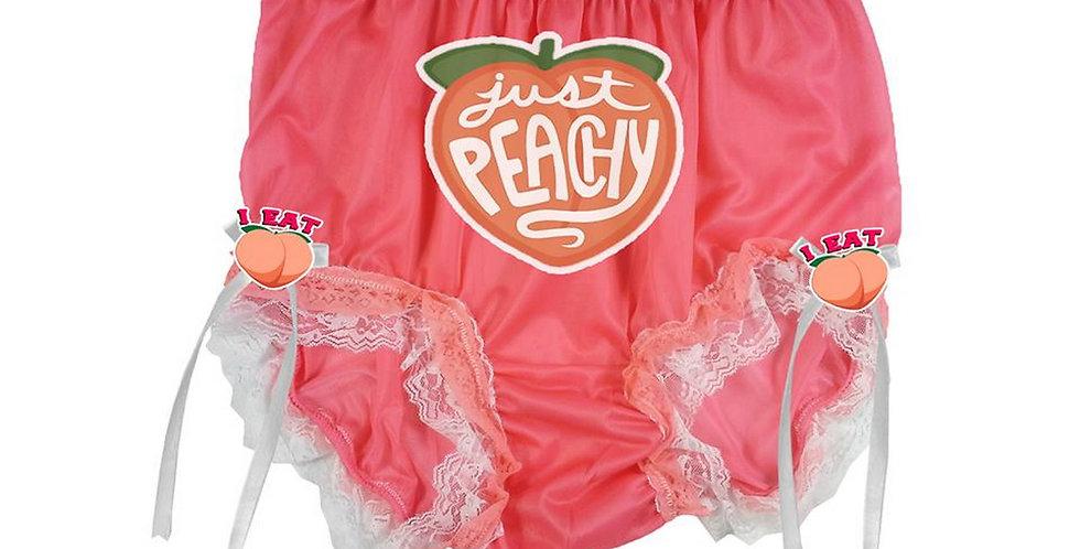 Peach Day Handmade Ribbon Panties Double Lace Women Men Briefs Nylon Knickers