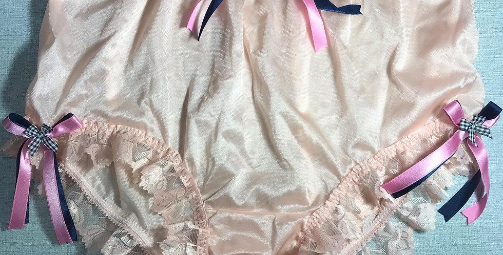 Fair Orange Panties Hi-Cut Granny Briefs Nylon Handmade Men Ribbon Lacy NYRRH03