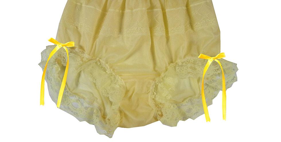 JYH17D01 Yellow Handmade Nylon Panties Women Men Lace Knickers Briefs