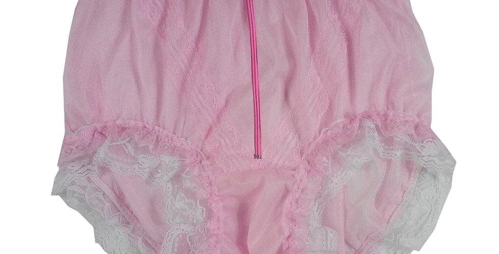 SSH23DP10 Pink Zipper Handmade Nylon Panties Lace Women Granny Men Briefs
