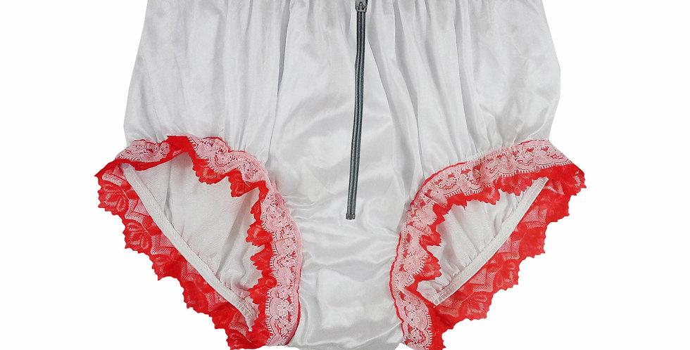 NQH23DP05 White Zipper New Panties Granny Briefs Nylon Handmade Lace Men