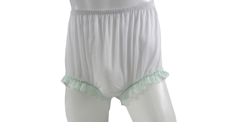 NNH04D11 White Handmade Nylon Panties Granny Briefs Lingerie Women Man
