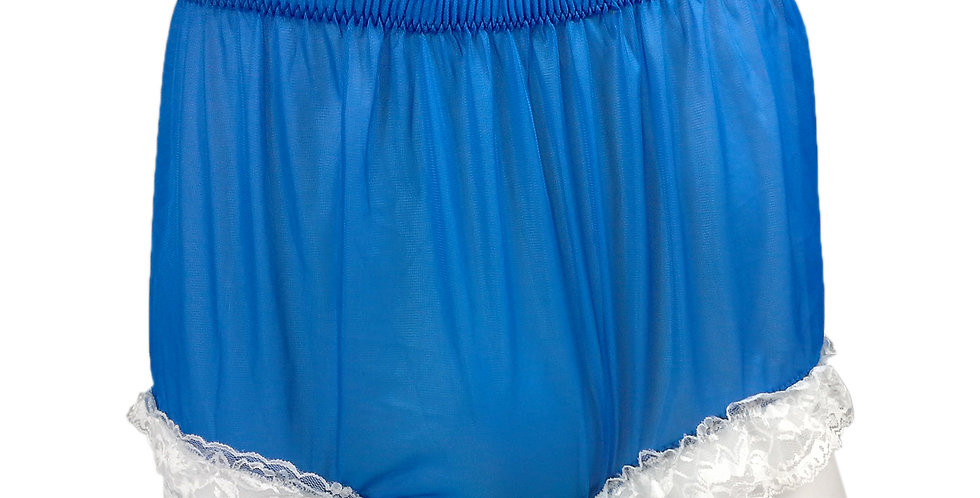 NH01D11 Royal Blue Handmade Panties Lace Women Men Briefs Nylon Knickers