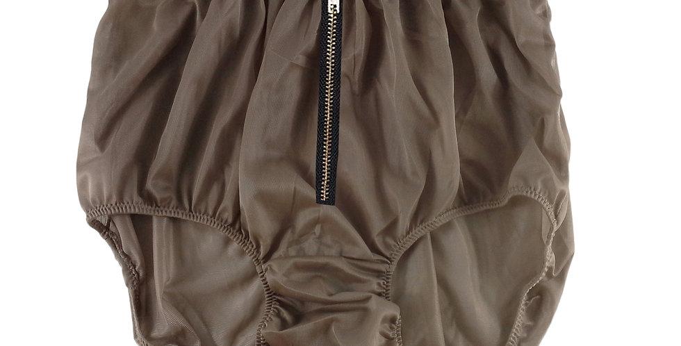 NNH03I09khaki brown Zipper Handmade Panties Lace Women Men Briefs Nylon Knickers
