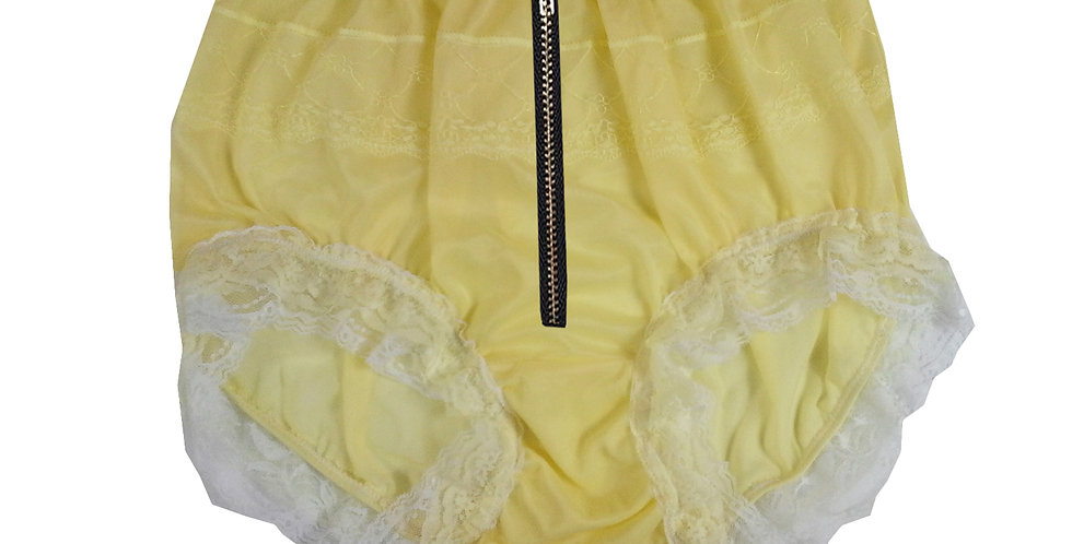 Vintage Style Yellow See Thru Nylon Panties With Lace Trim Zipper Crotch Panty