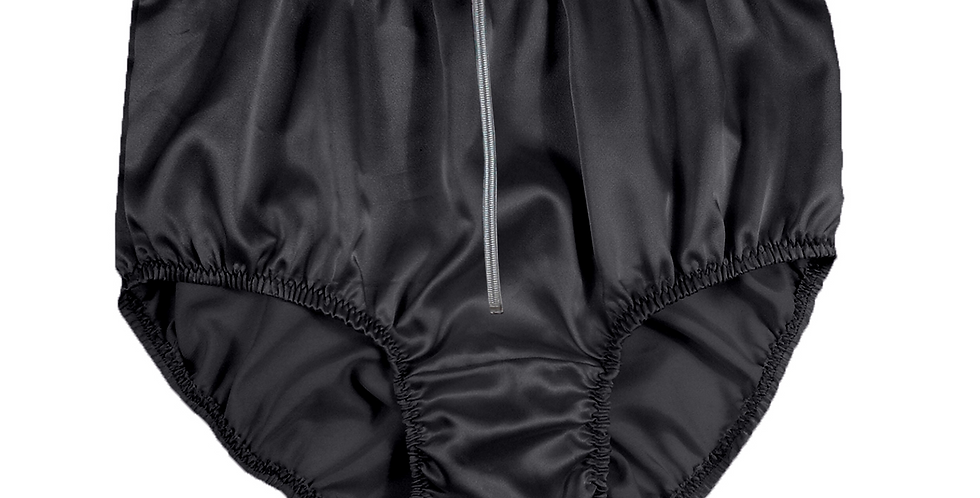 STPH03D01 Black Zipper New Satin Panties Women Men Briefs Knickers