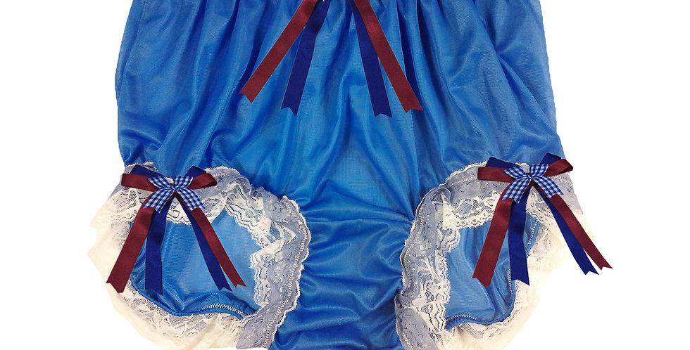 NNH22D07 Royal Blue Handmade Panties Lace Women Men Briefs Nylon Knickers