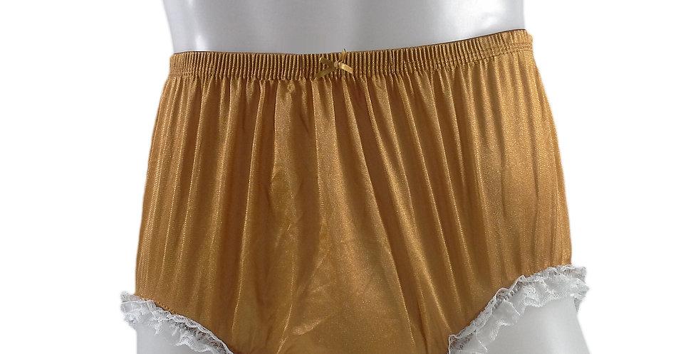 NQH02D11 Gold Yellow Panties Granny Briefs Nylon Handmade Lace Men Woman