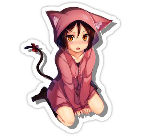 neko cat girl 2 SSTH034 Cartoon Anime Car Window Decal Sticker