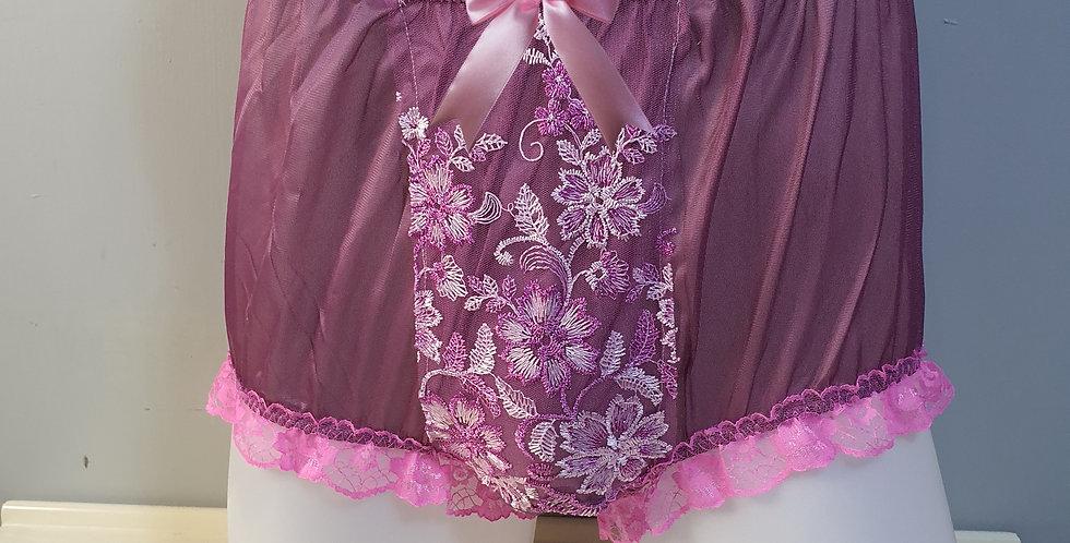 New Deep Pink Silky Nylon Briefs Men Panel Lace Panties Handmade Knickers NPN22