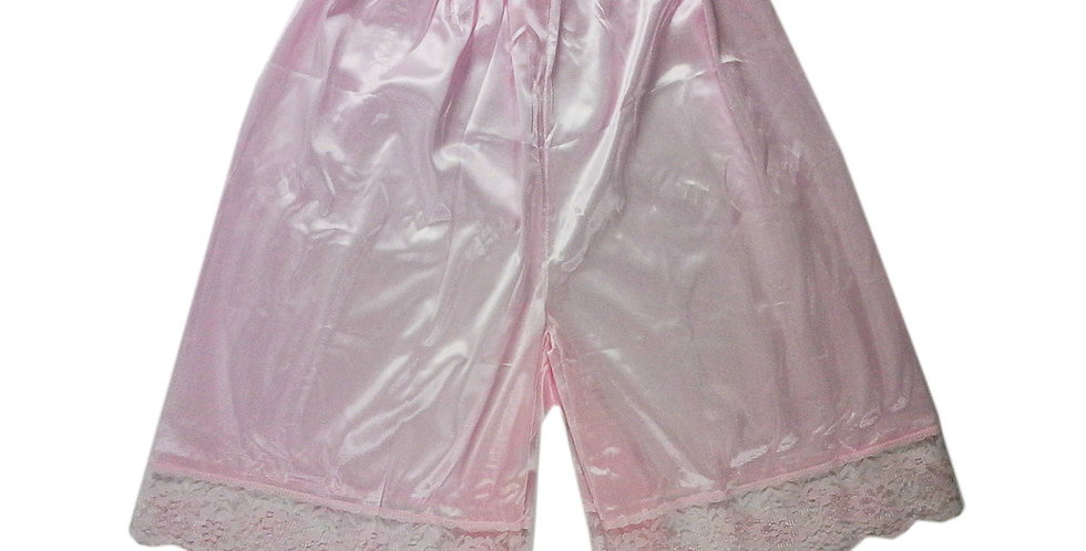 PTP04 Pink Silky Nylon Pettipants Women Men Slips Lace Lingerie