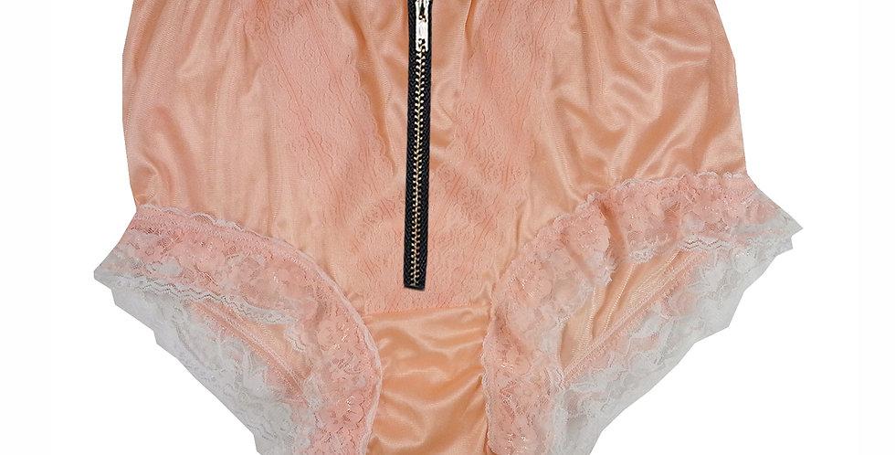 Orange Underwear Briefs Lingerie Zipper Open Crotch Underpants Nylon Panties Zip