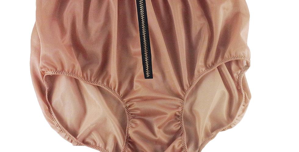 NNH03I07 Fair brown Zipper Handmade Panties Lace Women Men Briefs Nylon Knickers