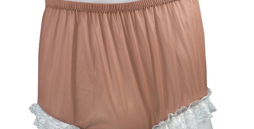 NH01D08 Fair Brown Handmade Panties Lace Women Men Briefs Nylon Knickers