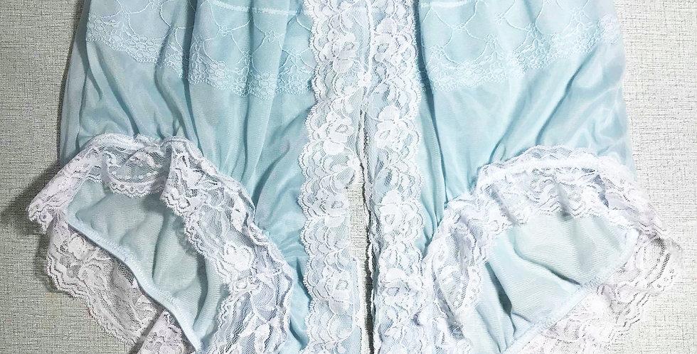Fair blue Open Front Gusset Nylon Panties Men Knickers Handmade Lacy JYH32D02