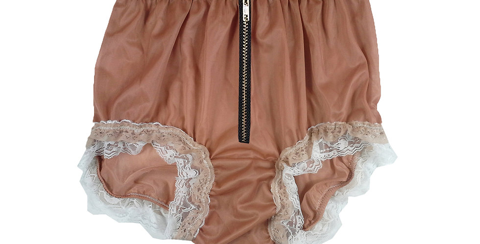 NNH23DI06Fair Brown Zipper Handmade Panties Lace Women Men Briefs Nylon Knickers