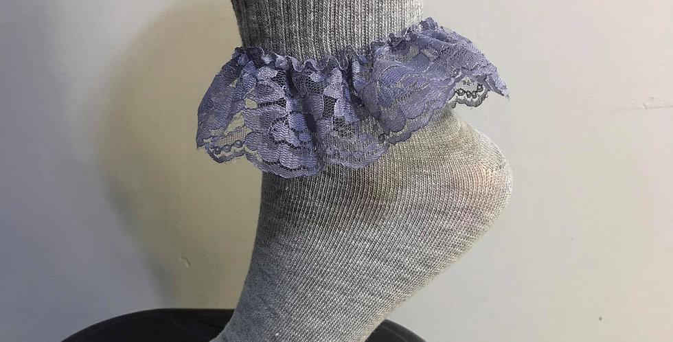 New Gray Socks Flroal Bridal Lacy Handmade Nylon Men Women Adult Ankle SOL30